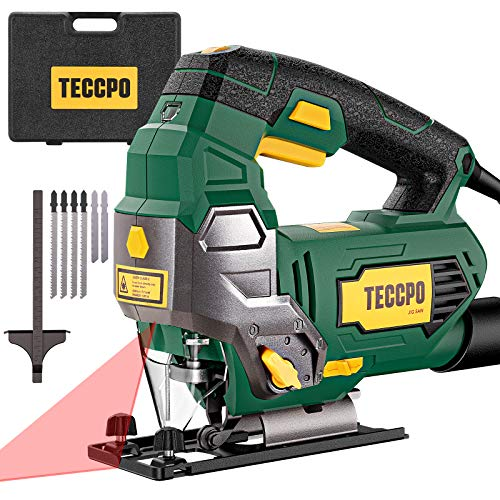 TECCPO 6.5Amp Jigsaw, 3000 SPM Jig saw with Laser, 6 Variable Speed, Tool-free Switching Angle(±45°), 6 Blades, Carrying Case, Scale...