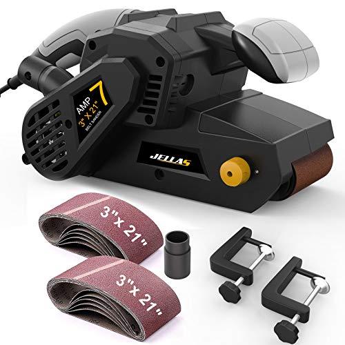 Jellas 7Amp Belt Sander 3 × 21-Inch with Dust Bag, Bench Sander with Variable-speed Control, 2 in 1 Vacuum Adapters, 10Feet (3 meters)...