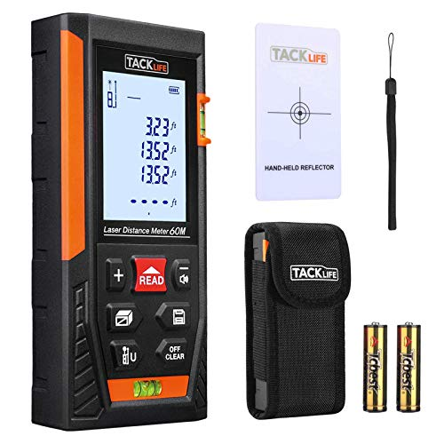 Tacklife HD60 Classic Laser Measure 196Ft M/In/Ft Mute Laser Distance Meter with 2 Bubble Levels, Backlit LCD and Pythagorean Mode,...