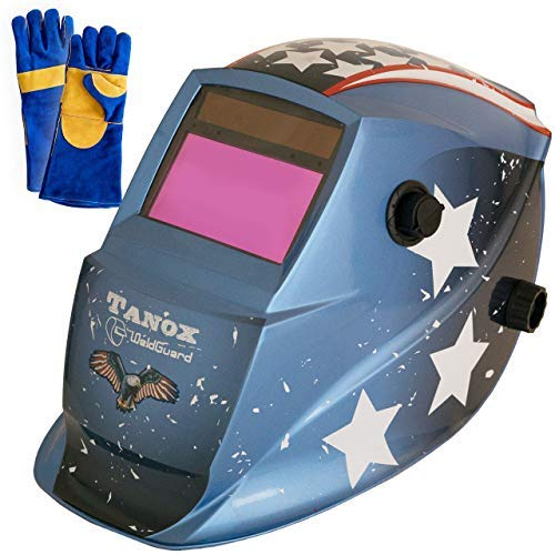 Tanox Auto Darkening Solar Powered Welding Helmet ADF-206U(USA POWER): Shade Lens, Tig Mig MMA, Adjustable Range 4/9-13, Grinding 0000,...