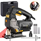 TECCPO Jigsaw, Advanced 3000 SPM Jigsaw with Laser, Tool-free Switching Angle(-45°-45°), Variable Speed, 6 Blades, Carrying Case,...