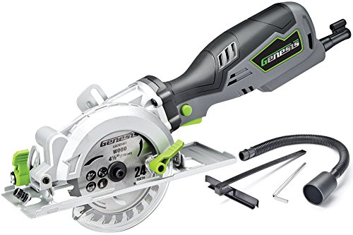 Genesis GCS545C 5.8 Amp 120 Volt 4-1/2 in. Control Grip Compact Circular Saw with Vacuum Adapter, Blade Wrench, and 24T Carbide Tipped...