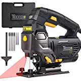 TECCPO Jigsaw, 3000 SPM Jigsaw with Laser, Tool-free Switching Angle(-45°-45°), Variable Speed, 6 Blades, Carrying Case, Scale Ruler,...