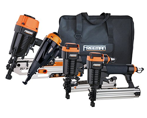 Freeman P4FRFNCB Pneumatic Framing & Finishing Combo Kit with Canvas Bag (4Piece) Nail Gun Set with Framing Nailer, Finish Nailer, Brad...