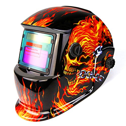 DEKOPRO Welding Helmet Solar Powered Auto Darkening Hood with Adjustable Shade Range 4/9-13 for Mig Tig Arc Welder Mask Shield Flaming...