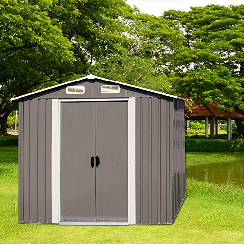 Galvanized Steel Patio Storage Shed Utility Tool Storage Shed Outdoor House for Backyard Garden Lawn(6'x4')